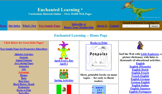 T is for  Welcome to Enchanted Learning!